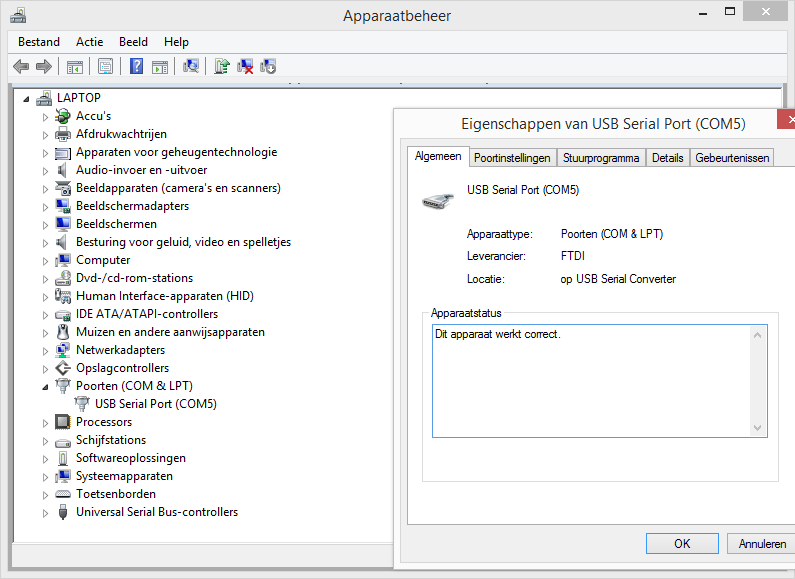 Windows 8.1 device manager (dutch language)